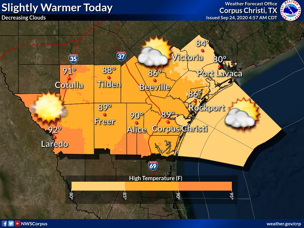 It will be slightly warmer today with highs from the mid 80s to low 90s. Skies will become partly cloudy by this afternoon across the eastern areas to mostly sunny across the west with light north winds.