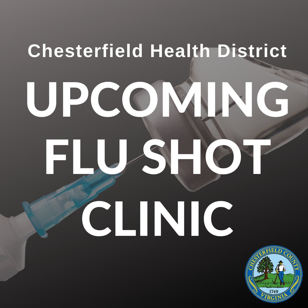 FREE flu shots tomorrow! The Chesterfield Health District is offering FREE flu vaccines to the general public at their office, 9501 Lucy Corr Circle, TOMORROW (Sept. 25) from 1-5 p.m. Supplies are limited and you must make an appointment by calling 804-318-8207. Call today!