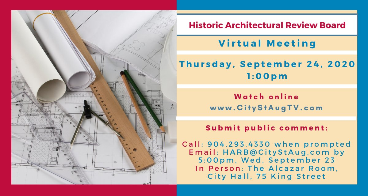 HARB will convene for a virtual meeting on Thursday, September 24, starting at 1:00pm. Watch online at . Full agenda and meeting packet;  #CityStAug