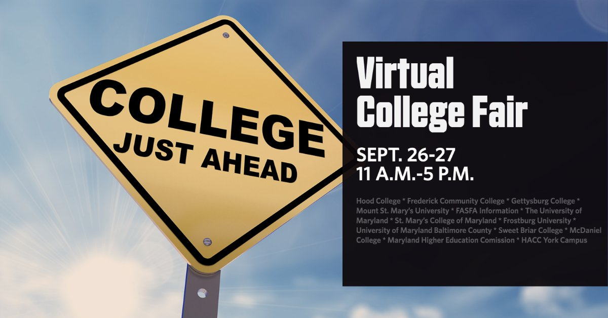 Our Virtual College Fair kicks off this Saturday, Sept. 26, at 11 a.m. with a visit from @Hood_College Admissions Counselor, Alisan Imhoff. Join us via Zoom or Facebook Live.   Have questions? Alisan and FCPL Teen Librarian Katie are ready to answer them!