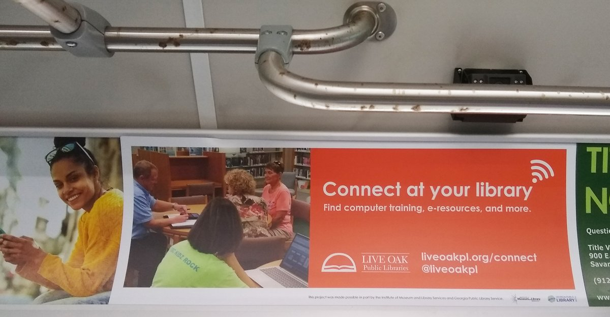 Thanks to our friends at @ChathamTransit for helping us safely share info about @liveoakpl! Continue your journey or create a new path. Connect at your library >  Thank you to @US_IMLS & @georgialibs for supporting technology initiatives. #GeorgiaLibraries