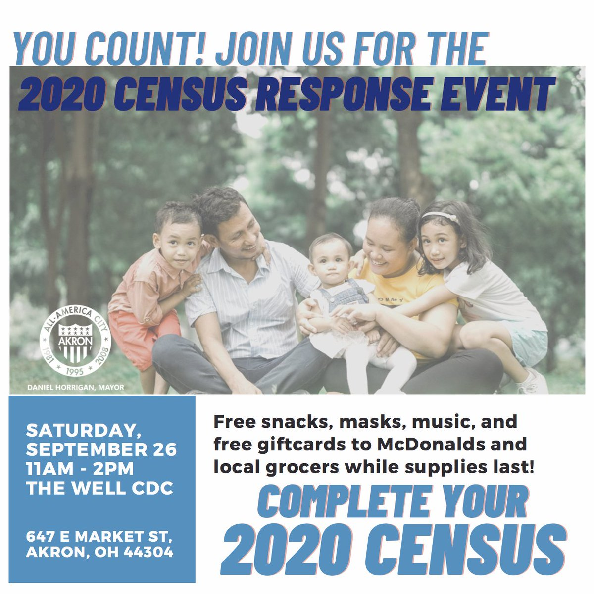 Time is running out for the 2020 Census. If you haven't filled it out, you can go online today to . You can also come to our last Census Response event this Sat., Sept. 26 between 11am-2pm at @thewellakron. We'll have free snacks, masks, and gift cards.