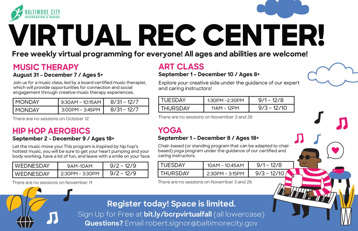 The #VirtualRec has expanded! We are now offering live online programming. Enjoy yoga, music therapy and more. All ages and abilities are welcome.   Learn more at .
