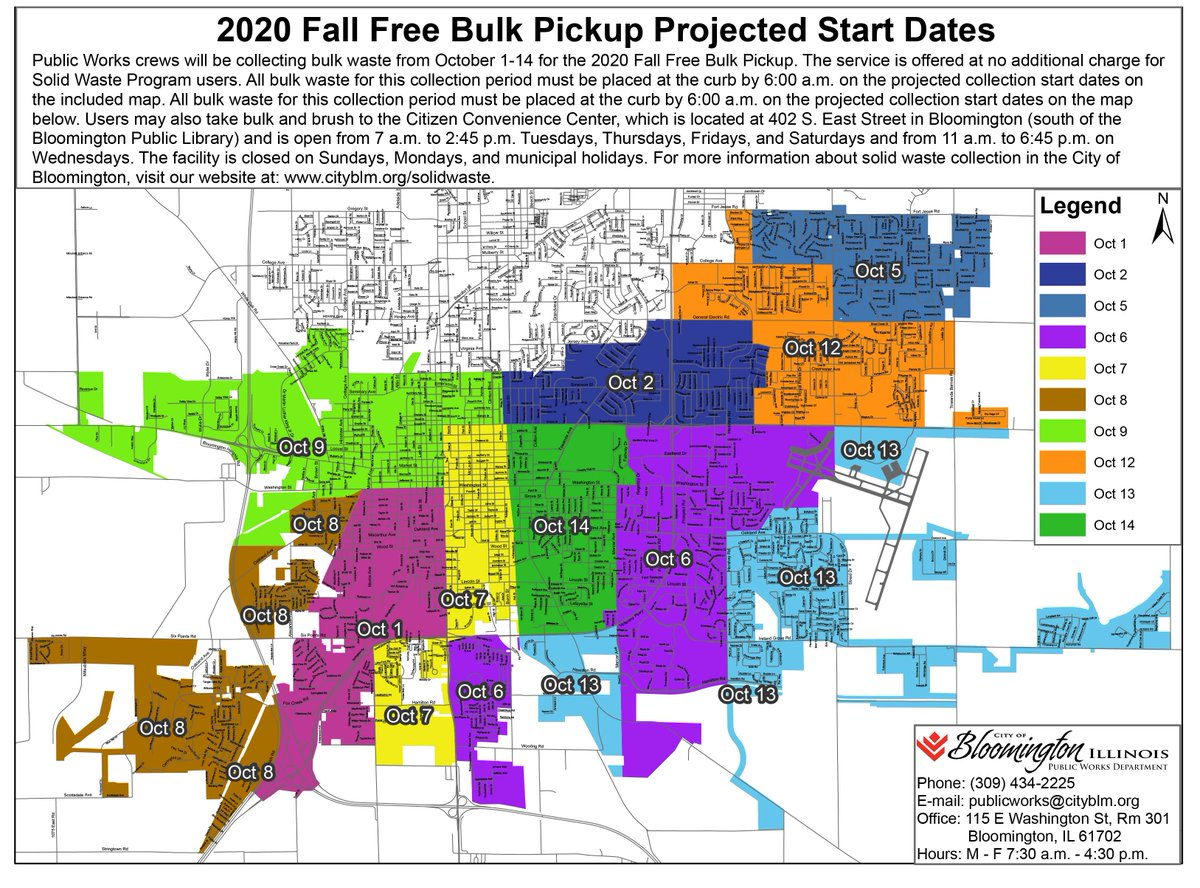 Crews will be collecting bulk waste from Oct. 1-14 for the Fall Free Bulk Pickup. The service is no additional charge for solid waste program users. Check the map for the projected collection date for your area. If you have questions, please call 434-2225.