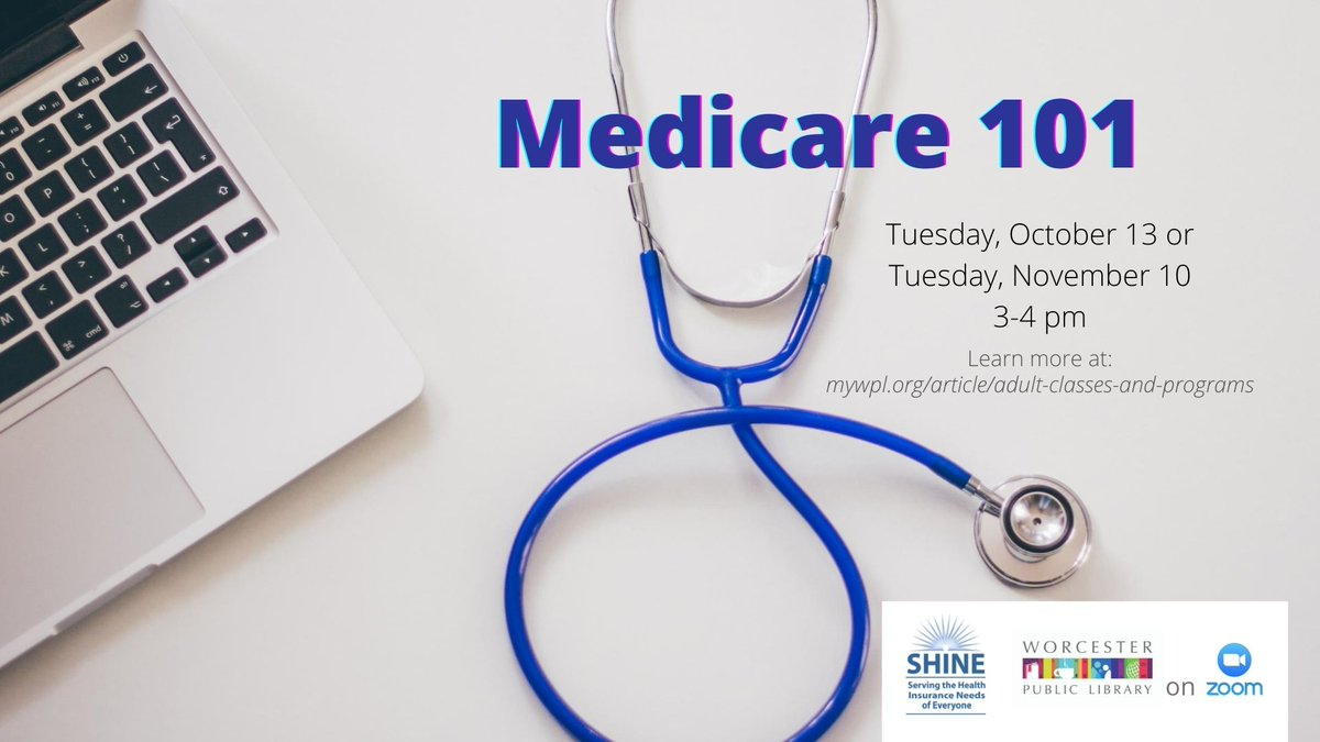 Join us 10/13 at 3pm via Zoom for Medicare 101! This presentation will provide an introduction to Medicare for current beneficiaries and those who will soon be eligible for Medicare. Info specific to MA. Presented by The SHINE program. Register