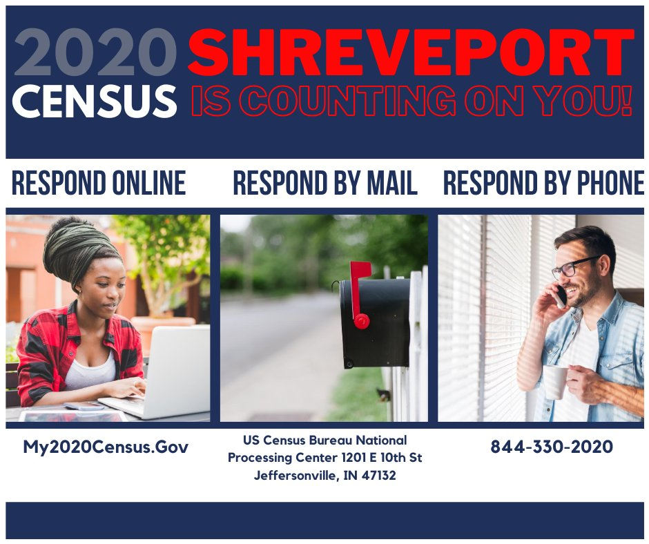 📢Have you responded to the Census? Doing so will HELP SHREVEPORT with funding for roads, hospitals, schools and much more!  Please take 10 minutes and complete your Census Questionnaire. Click Here:  #CountShreveport