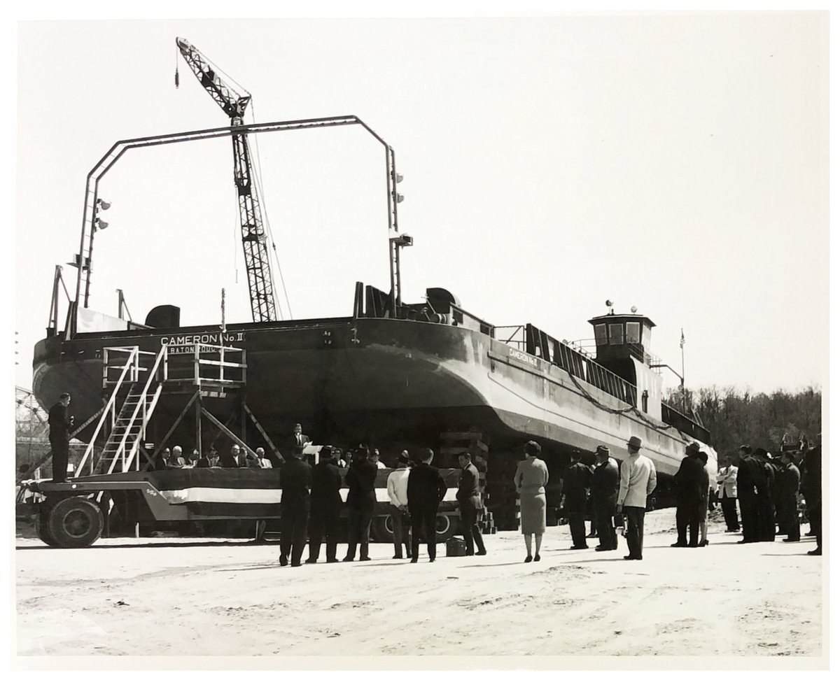 #TBT - Cameron Ferry No. II's launching ceremony on March 11, 1964 at G. B. Zigler Shipyards.