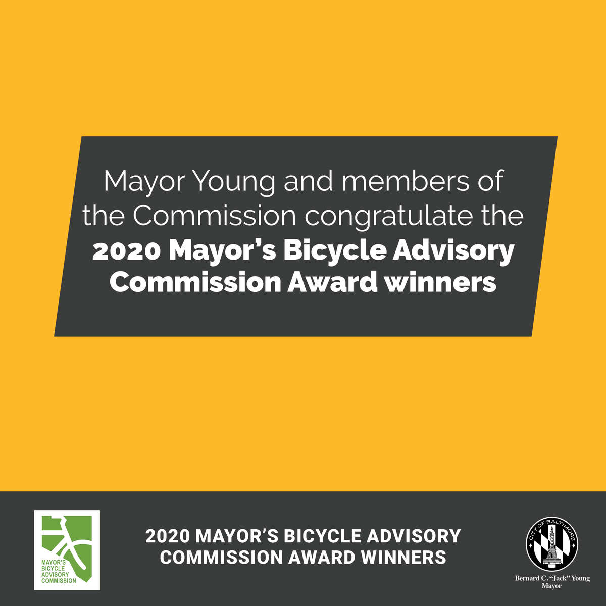 @mayorbcyoung congratulates all 2020 Mayor's Bicycle Advisory Commission award recipients for their contributions to the City of Baltimore. The first award goes to Baltimore Bicycle Works as they are recognized for this year's 2020 Business Award.