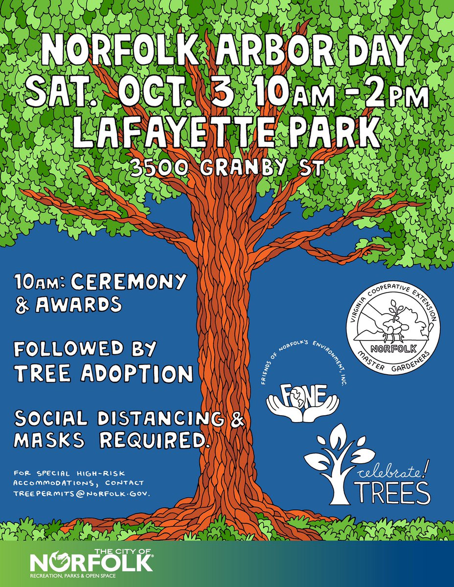 #ArborDay is coming up on October 3rd from 10am - 2pm in Lafayette Park. Help expand Norfolk's tree canopy! Join us for the awards ceremony and tree adoption. Social distancing and masks are required. #NorfolkVA 🌳