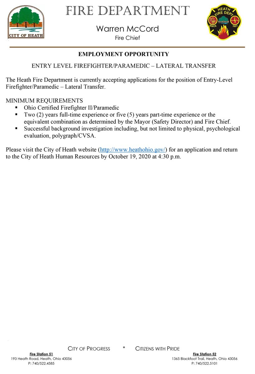 HFD Seeking Lateral Transfer  The Heath Fire Department is currently accepting applications for an Entry Level Firefighter/Paramedic - Lateral Transfer. A few more details on the position are attached: