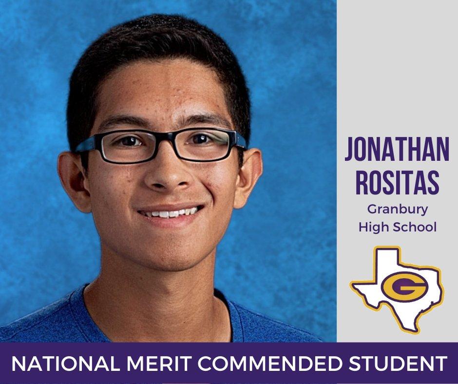 Granbury High School senior Jonathan Rositas was recently named a Commended Student in the 2021 National Merit Scholarship Program. Read more:  #GISDLead #GISDEngage #GISDInnovate