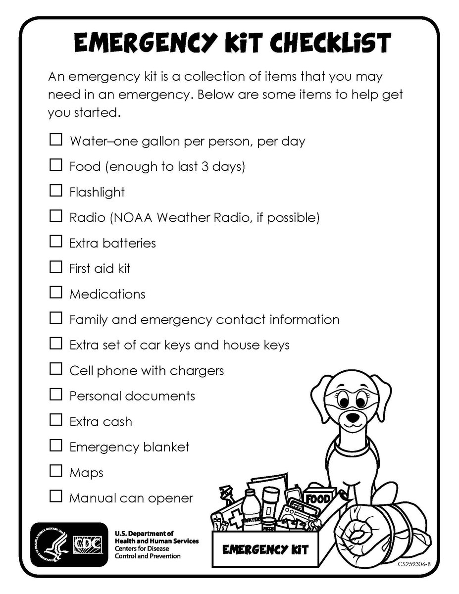 Check out this page from @CDCgov to help create a checklist for a family emergency kit that fits all of your family's needs: .  Don't forget to make sure all your kits include masks 😷 and hand sanitizer 🧼!