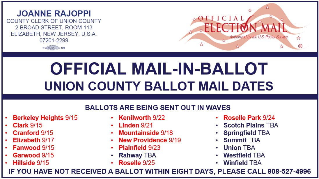 Mail-in-Ballots for @NJRoselle residents will be going out on Friday, September 25th