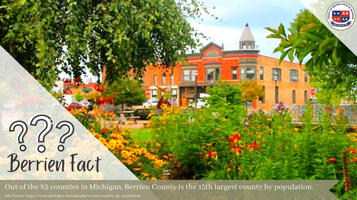 #FridayFacts 🧐 Did you know that, out of the 83 counties in Michigan, Berrien County is the 15th largest county by population? 🗓️ New #BerrienFact every Friday