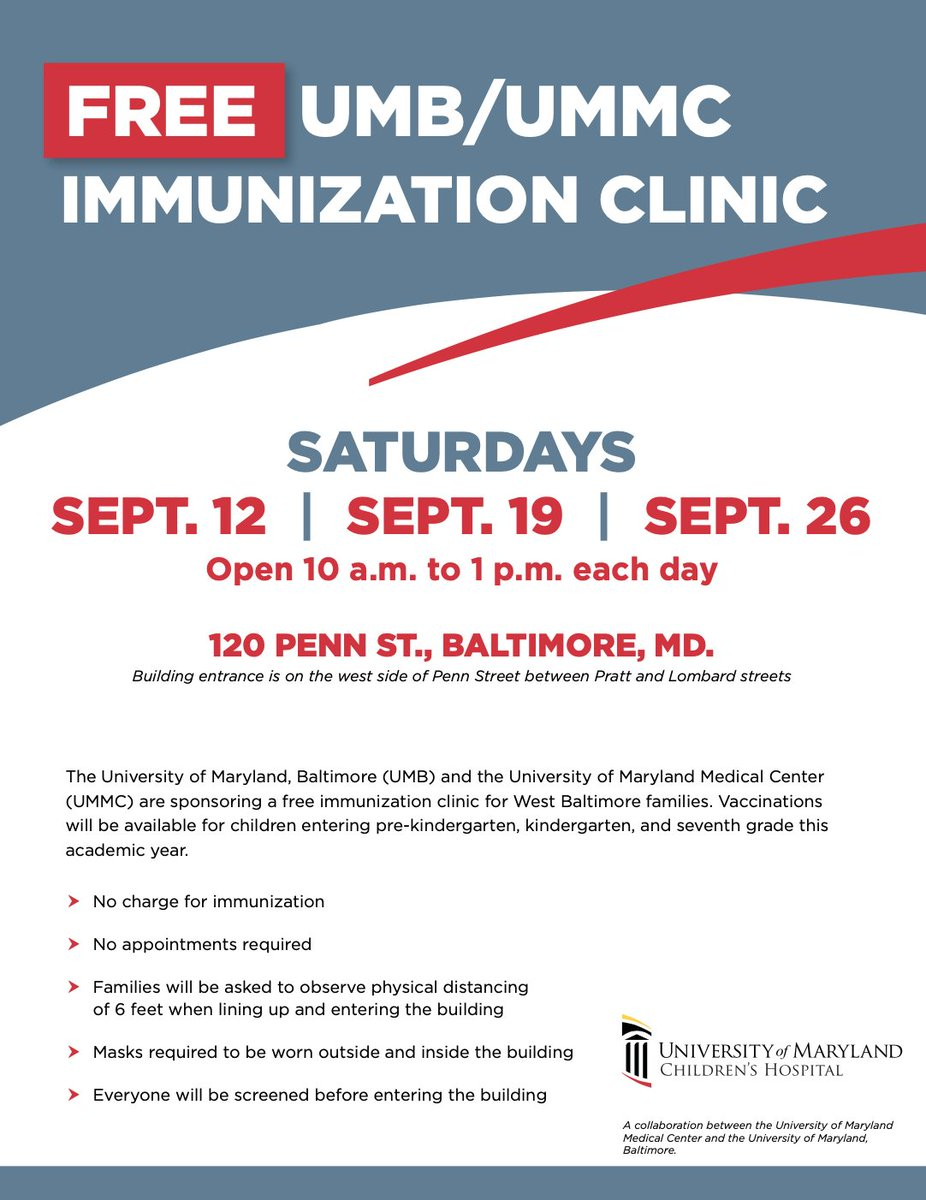 Students who need their immunizations brought up to date can visit a free clinic this Saturday. If you need assistance with transportation, please contact your child's school.  📍 120 Penn Street, Baltimore, MD 21230 📅 Saturday, September 26 ⏰ 10 am - 1 pm