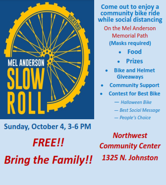 FAMILY BIKE EVENT: Many community organizations, including the City of Rockford Traffic Department, Rockford Fire Department and Rockford Police Department, have partnered to create the Mel Anderson Slow Roll bike event. This family-friendly event will take place on October 4!