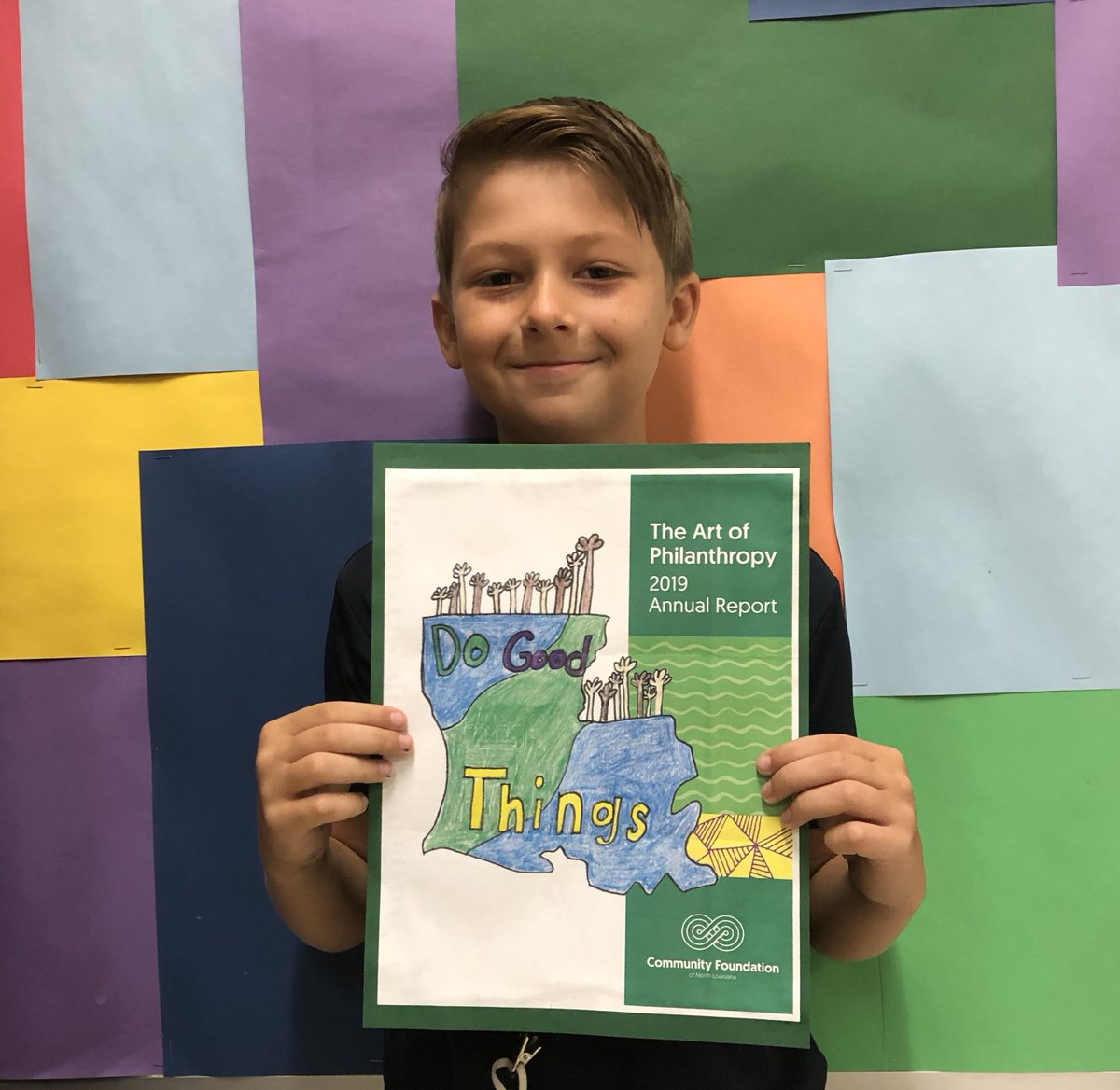 Congratulations to Riverside student Hudson King for winning the cover art contest with the Community Foundation of North Louisiana! Hudson's artwork was chosen to be the cover of their most recent annual report, winning his art class $500! #WeAreCaddo
