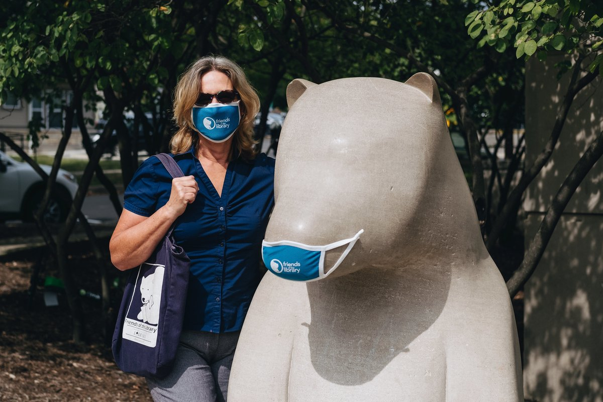 Check out the new @MCPL_Friends face mask! You can purchase one online or in person, beginning Tuesday, 9/29 when the Bookstore reopens! Hours will be Tuesday–Saturday, 11 AM–4 PM, with the first open hour of each day reserved for high-risk customers. 🐻