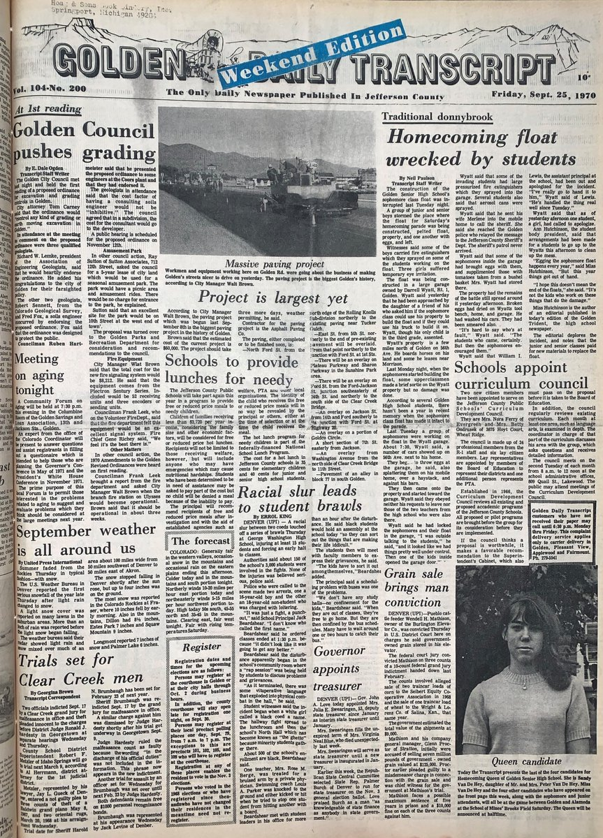 50 years ago this week... check out these #Jeffco headlines from Sept. 25, 1970, some of them could still apply in 2020. This is the front page of the Golden Transcript and is part of the collections in the Jefferson County Archives.  #ThrowbackThursday