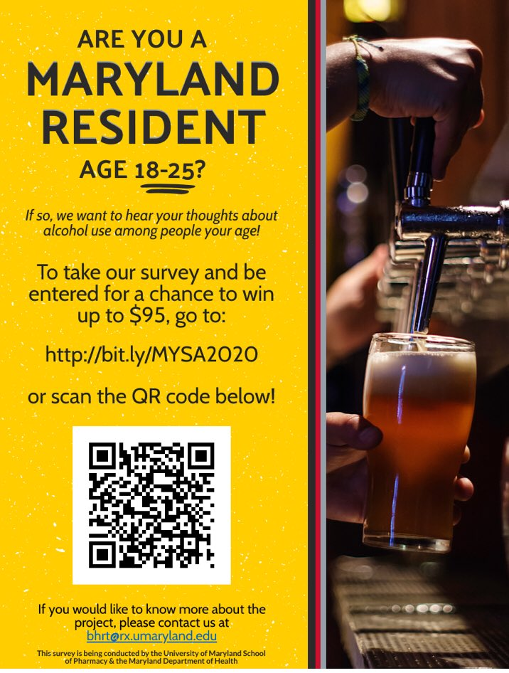 The Maryland Young Adult Survey on Alcohol (MYSA 2020 survey) is OPEN and will end on Friday, October 30, 2020. BHRT needs your help getting the word out. To take the survey go to: