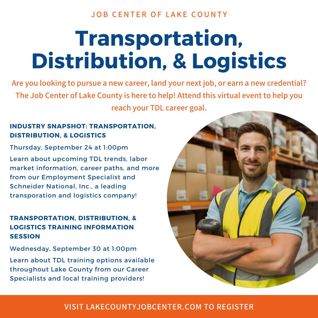 We are making September Transportation, Distribution and Logistics month! Join us TODAY at 1:00pm! Learn about upcoming TDL trends, labor market information, career paths, and more from our Employment Specialist and Schneider! Register: