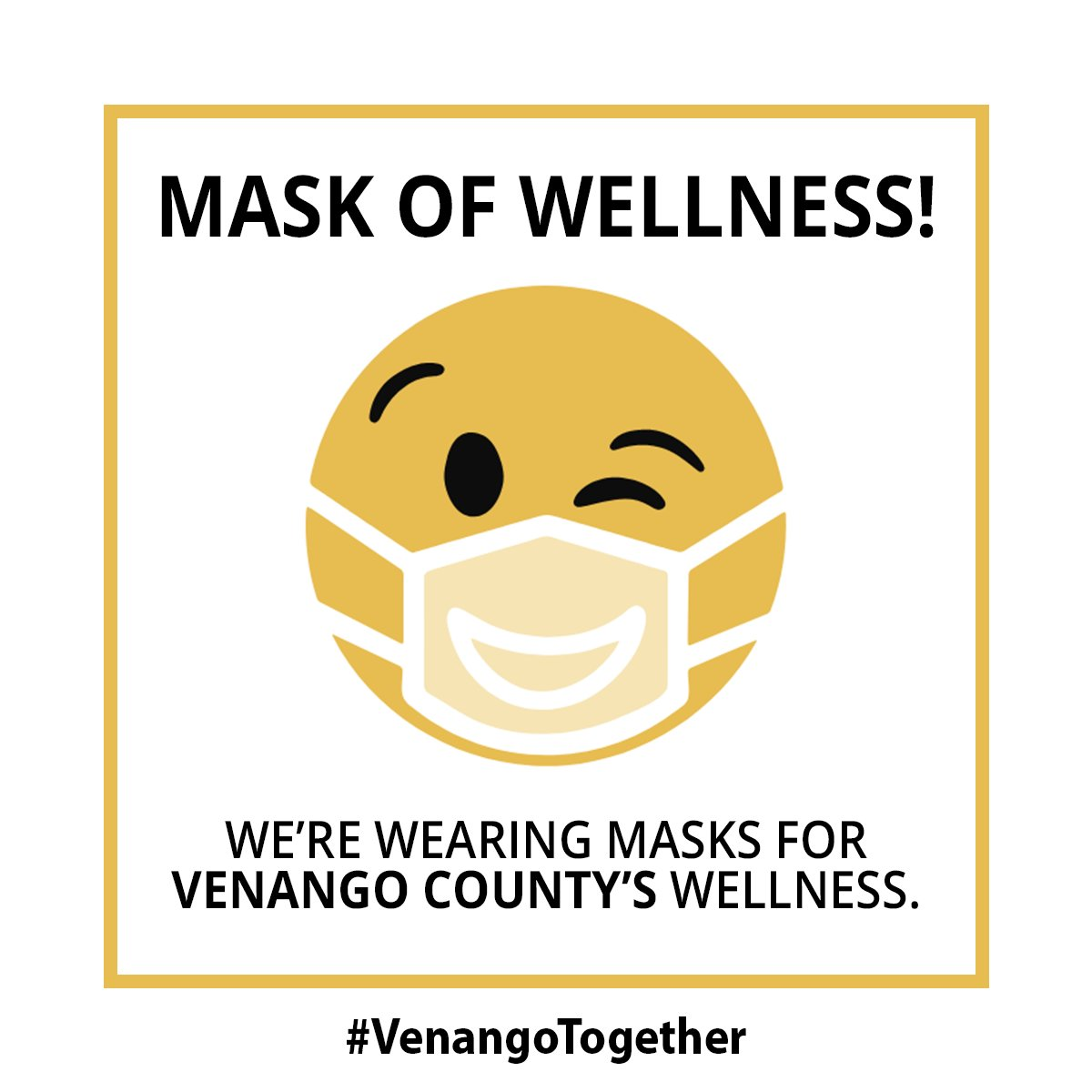 The #MaskofWellness campaign in #VenangoCounty promotes a positive approach of responsible behavior, encouraging wellness and economic stability. Local success relies on local support to stop the spread of COVID-19. To learn more-  #MasksOn #VenangoTogether