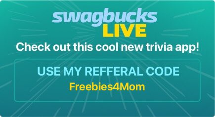 Play #SwagbucksLIVE with me tonight at 7 pm CT & get 3 FREE rejoins just for playing! It's a live 10 minute trivia game that I play for a chance to win a big cash prize. Get the app & sign-up to play.