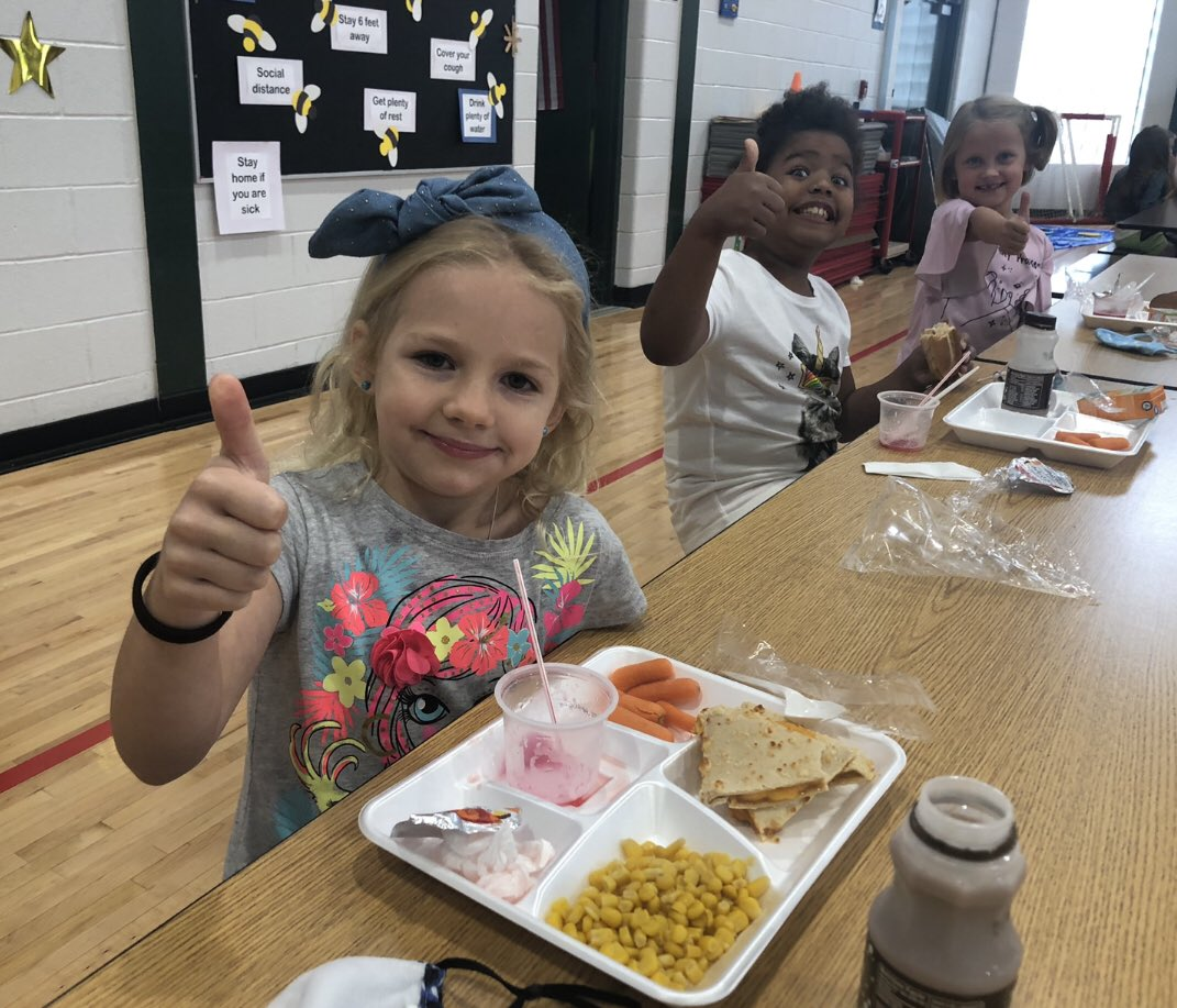 Lunch at Steenrod Elementary School gets an enthusiastic thumbs up!!! #TogetherWeAchieve