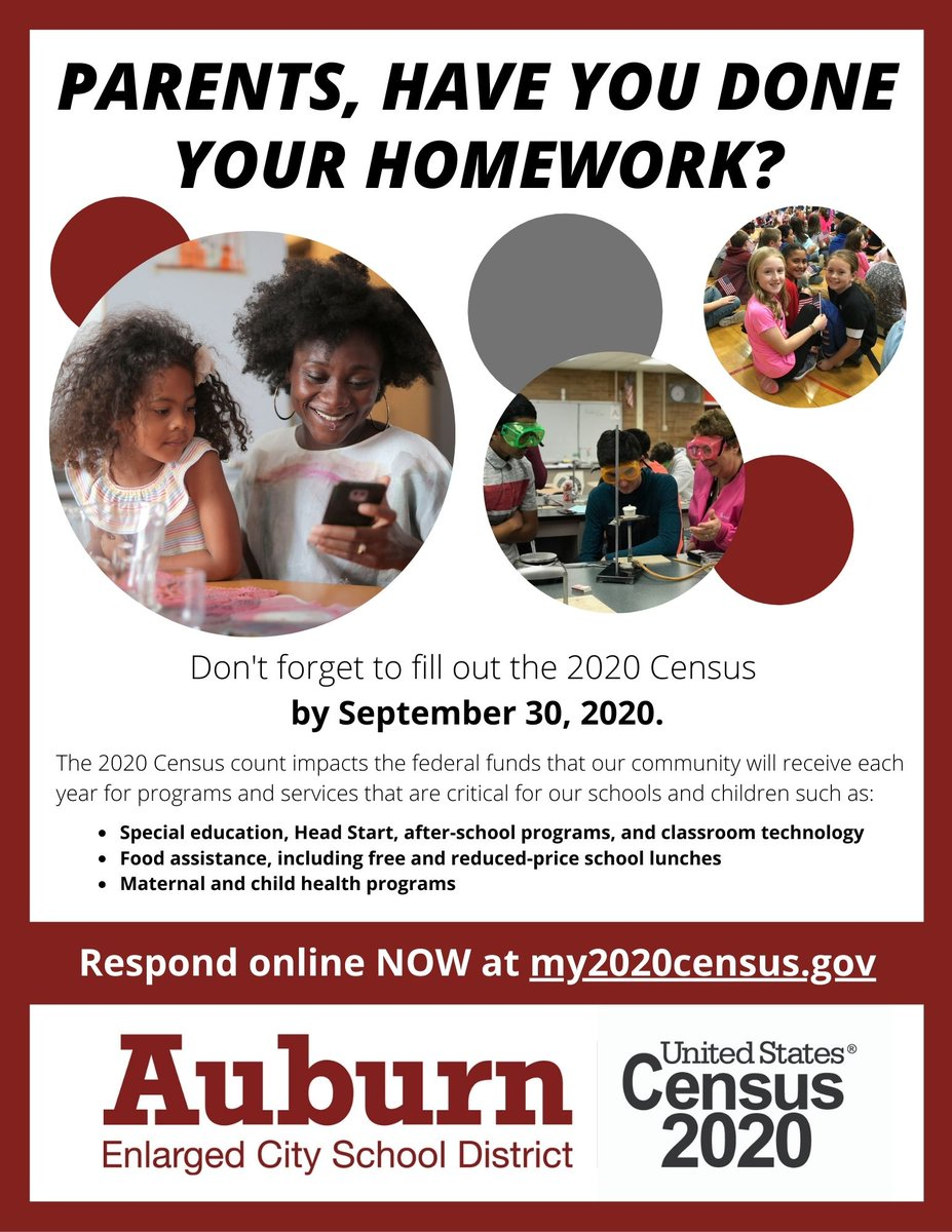 If you haven't already, please take a few minutes to respond to the 2020 Census at  by Sept. 30. Our community receives federal funding based on the Census count, so it is vital that we are all counted! Our future generation is depending on you!