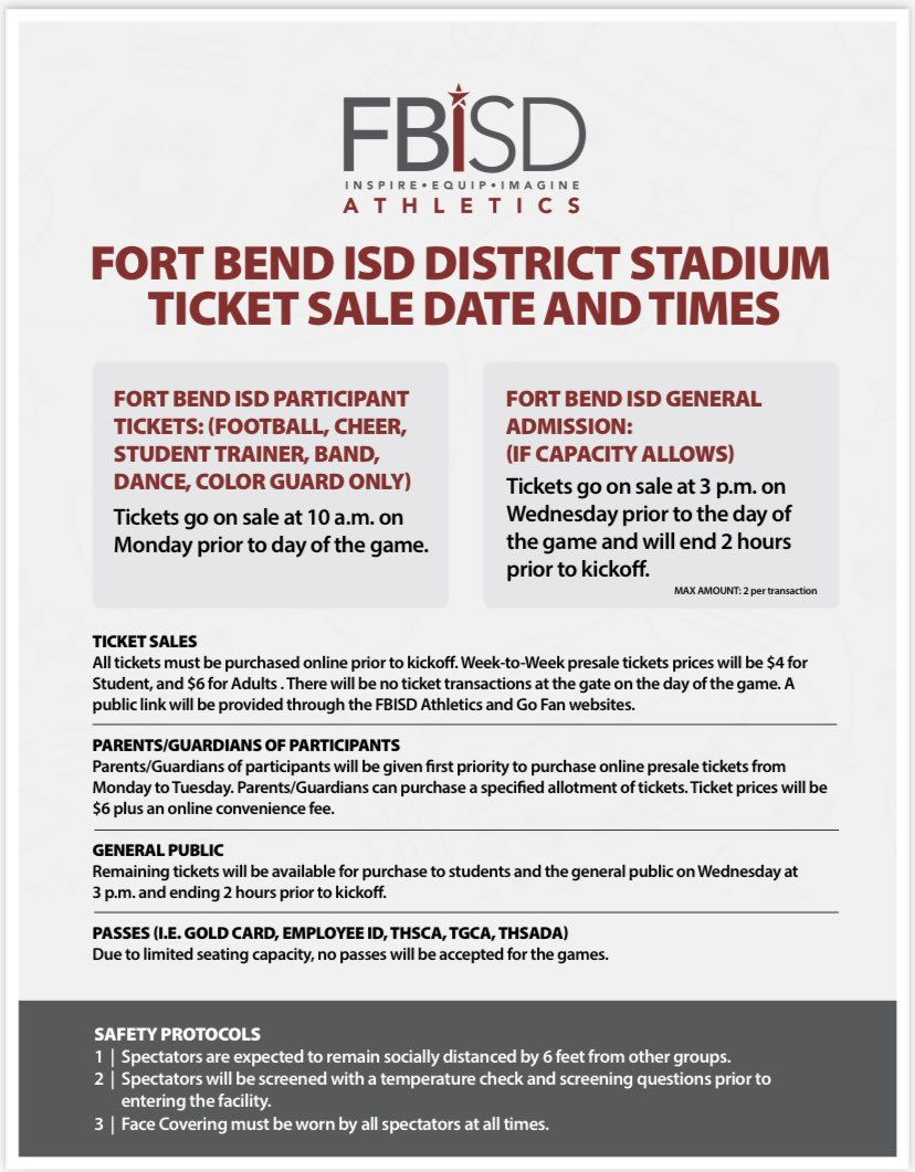 RT @FBISDAthletics: FBISD DISTRICT STADIUM GUIDELINES. 👀👀#MaskUp