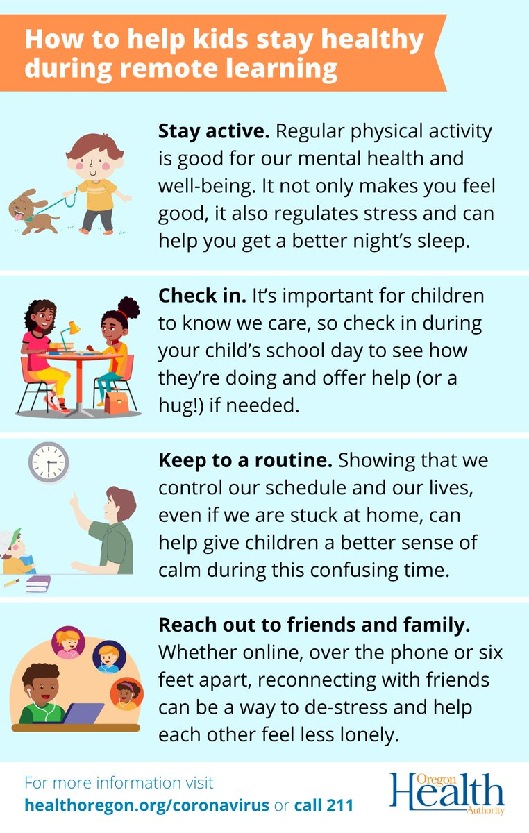 After you've made sure your child's workspace, schedule and physical fitness are taken care of, you may worry about mental and social/emotional health. How can you help them cope during this time? Check out the graphic below for some tips. #COVID19 #MentalHealthMatters