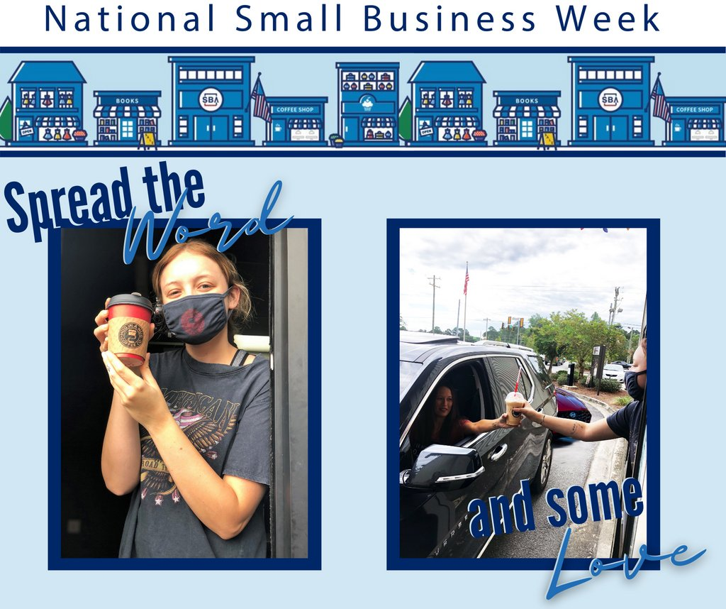 Spread the word about Small Business Week and spread some love while you are at it! If you are able, we encourage you to pay it forward and treat the customer behind you next time you're out. Be sure to say your act of kindness is in the name of Small Business Week!