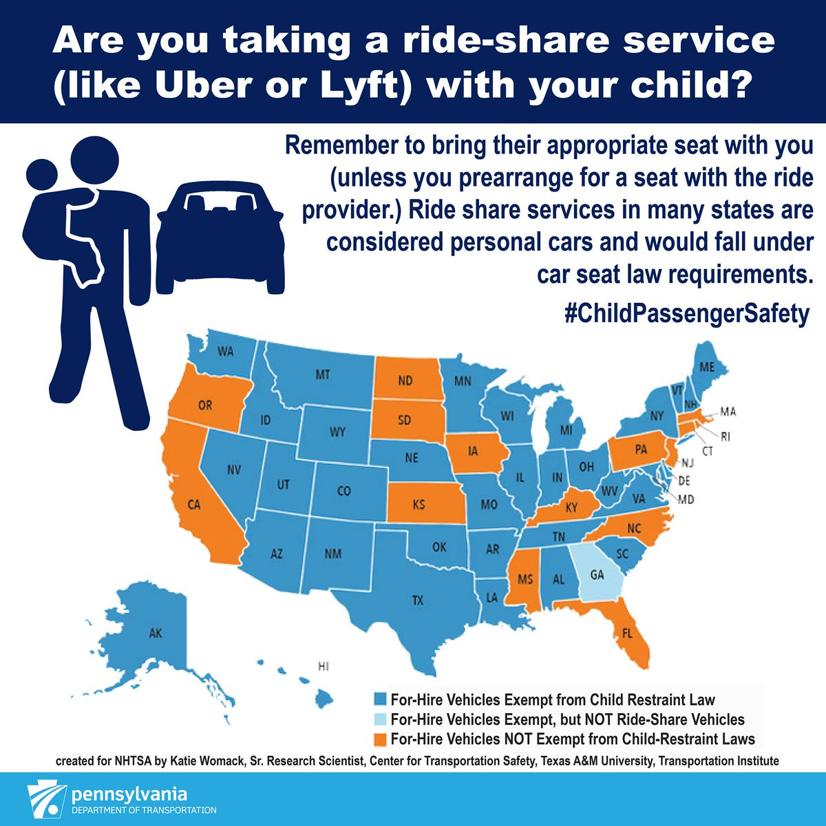 Did you know if you use a ride-share service with your child in PA you are required to have an appropriate car seat with you for them to use? See the chart below for requirements for each state. #childsafety #highwaysafetynetwork