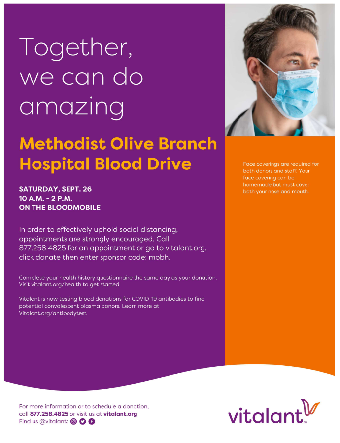 THIS SATURDAY at Methodist Olive Branch Hospital! See how you can make an appointment in the flyer below!