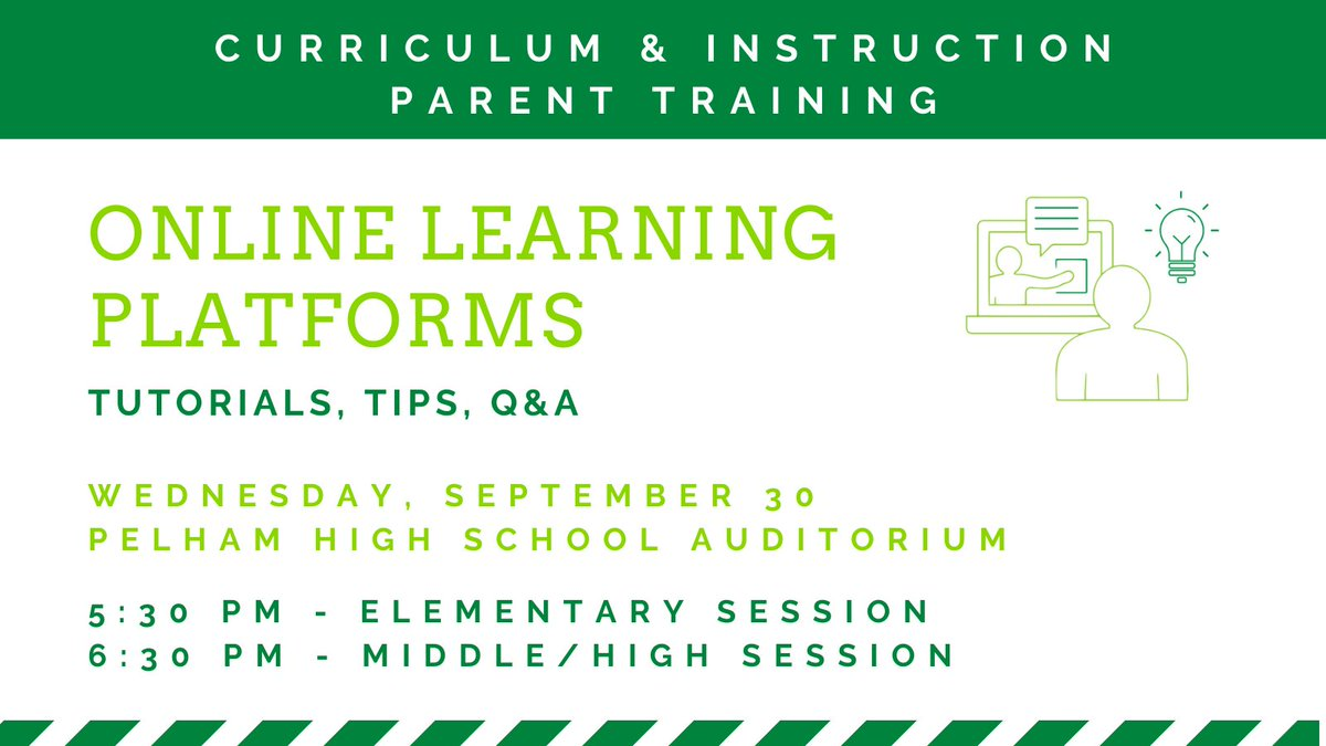 Parents -Join us for Online Learning Platforms Training on Sept. 30  at @PelhamHighAL. Our instructional team will provide guidance about using the online learning platforms, monitoring student progress and grades, and answer questions. Details here: .