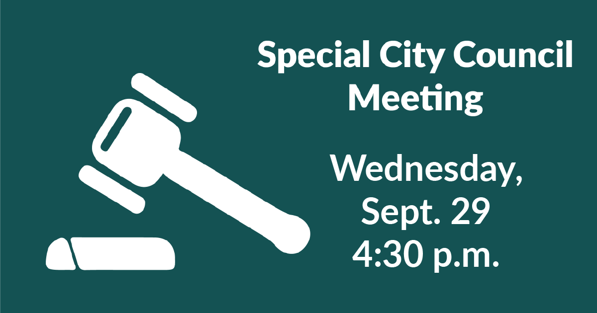 The Mayor has called a special meeting of City Council for 4:30 p.m. Sept. 29 to discuss acceptance of a US Dept. of Agriculture grant awarded to the city. For more info., click here