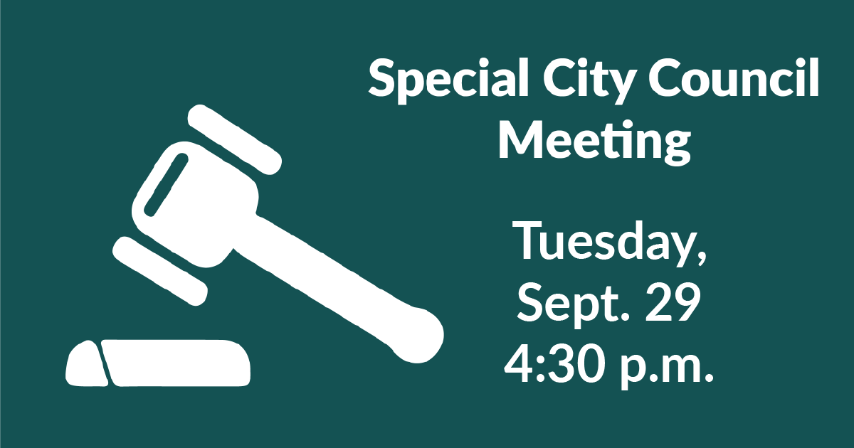 The Mayor has called a special meeting of the City Council on Tuesday, Sept. 29 at 4:30 p.m. to discuss acceptance of a US Dept. of Agriculture grant awarded to the City. For more info: