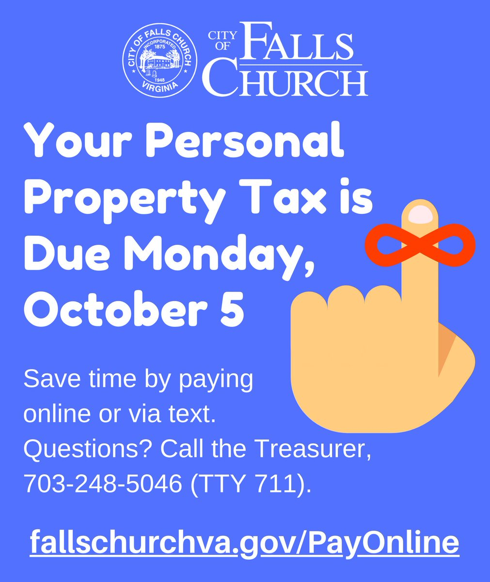 Reminder! Personal Property Tax is due Monday, October 5! Skip a trip to City Hall. The safest and easiest way to pay is online: