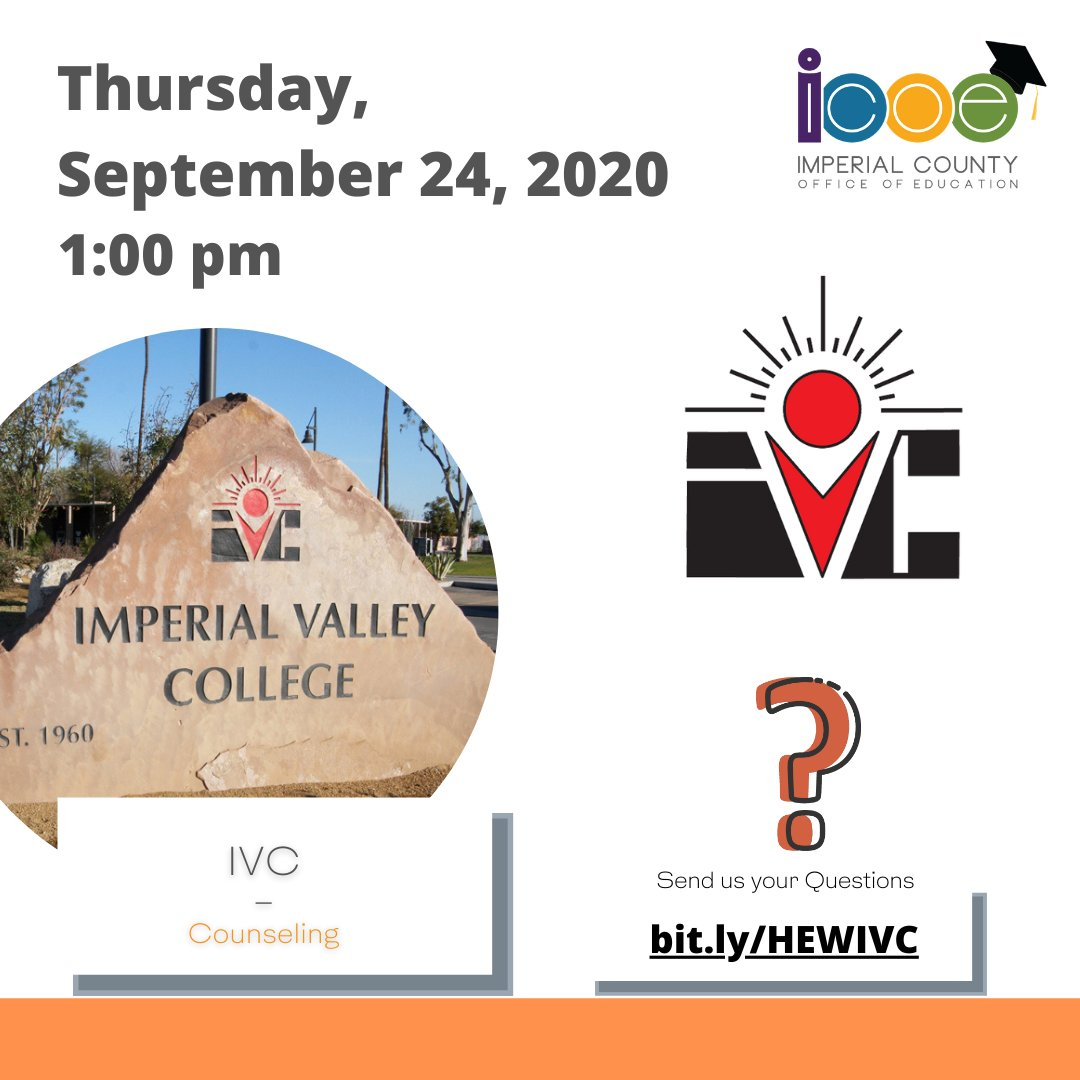 Join IVC and SDSU today from 1:00 pm - 4:00 pm to learn about admissions, financial aid, career education and more! ➡️