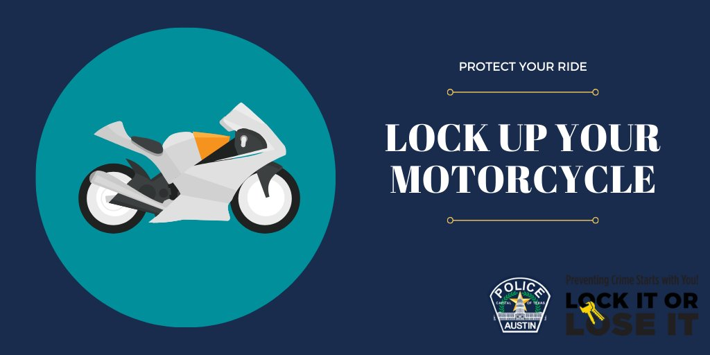 Several motorcycles have been reported stolen this year! Please remember to lock up your motorcycle and always call 9-1-1 to report stolen motorcycles or if you see a theft in progress. #OneAustinSaferTogether