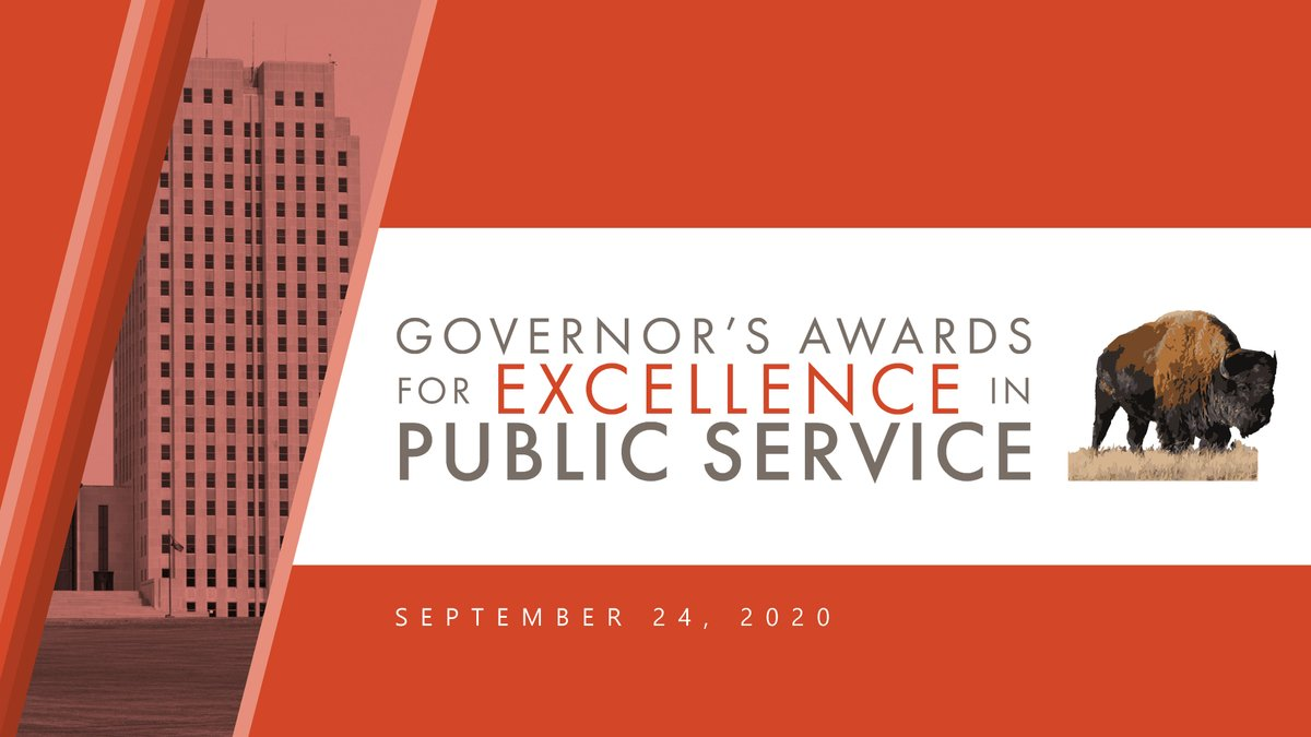 Team ND works hard every day to serve the citizens of North Dakota. Please join us for today's virtual event as we recognize recipients of the Governor's Awards for Excellence in Public Service!