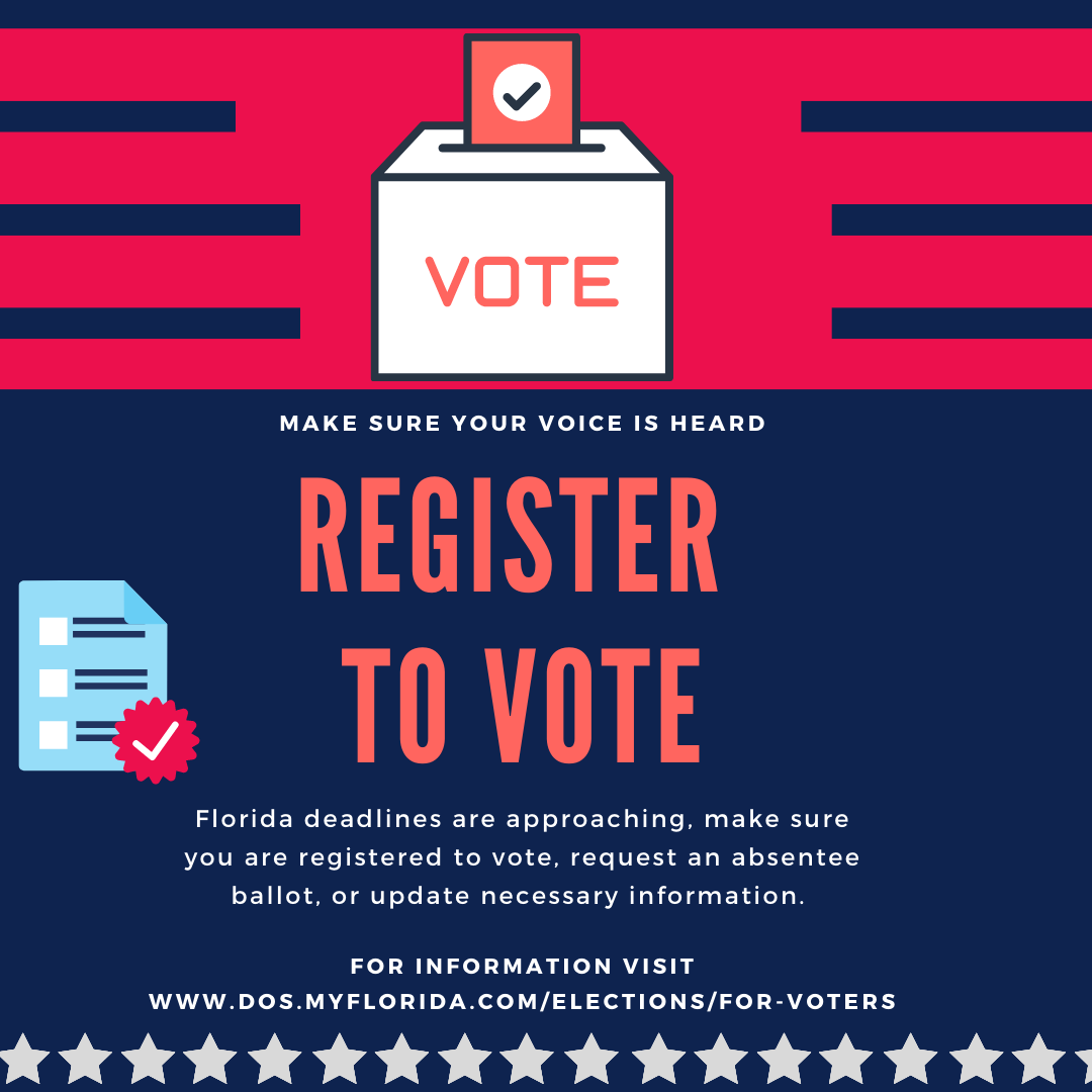 Are you registered to vote? Do you need to request an absentee ballot? These deadlines are approaching fast! Make sure your voter information and requirements are up to date, so your voice can be heard. For information on deadlines and dates visit,