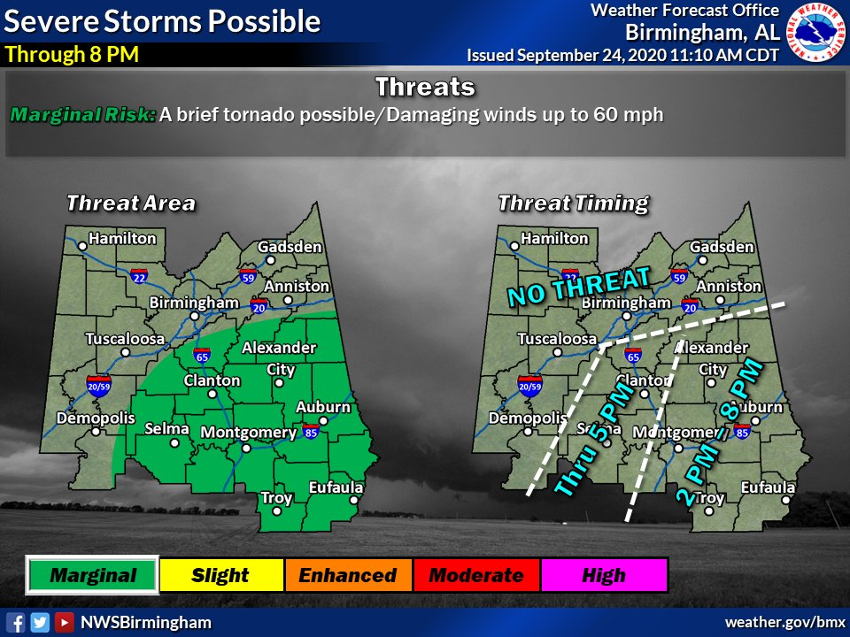 Here's the early afternoon severe update: Really seeing the unstable air struggle to progress inland, but there's still a small chance of a brief tornado or isolated damaging winds in the Marginal risk area as the airmass slowly destabilizes this afternoon. #alwx