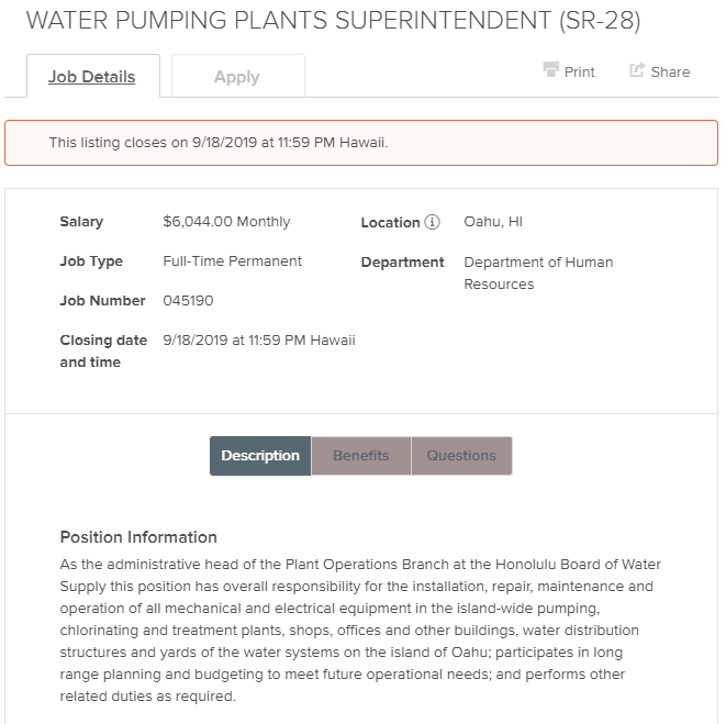 @BWSHonolulu is hiring a Water Pumping Plants Superintendent that is the administrative head of the Plant Operations Branch & has overall responsibility for the installation, repair, maintenance &operation of all mechanical & electrical equipment.