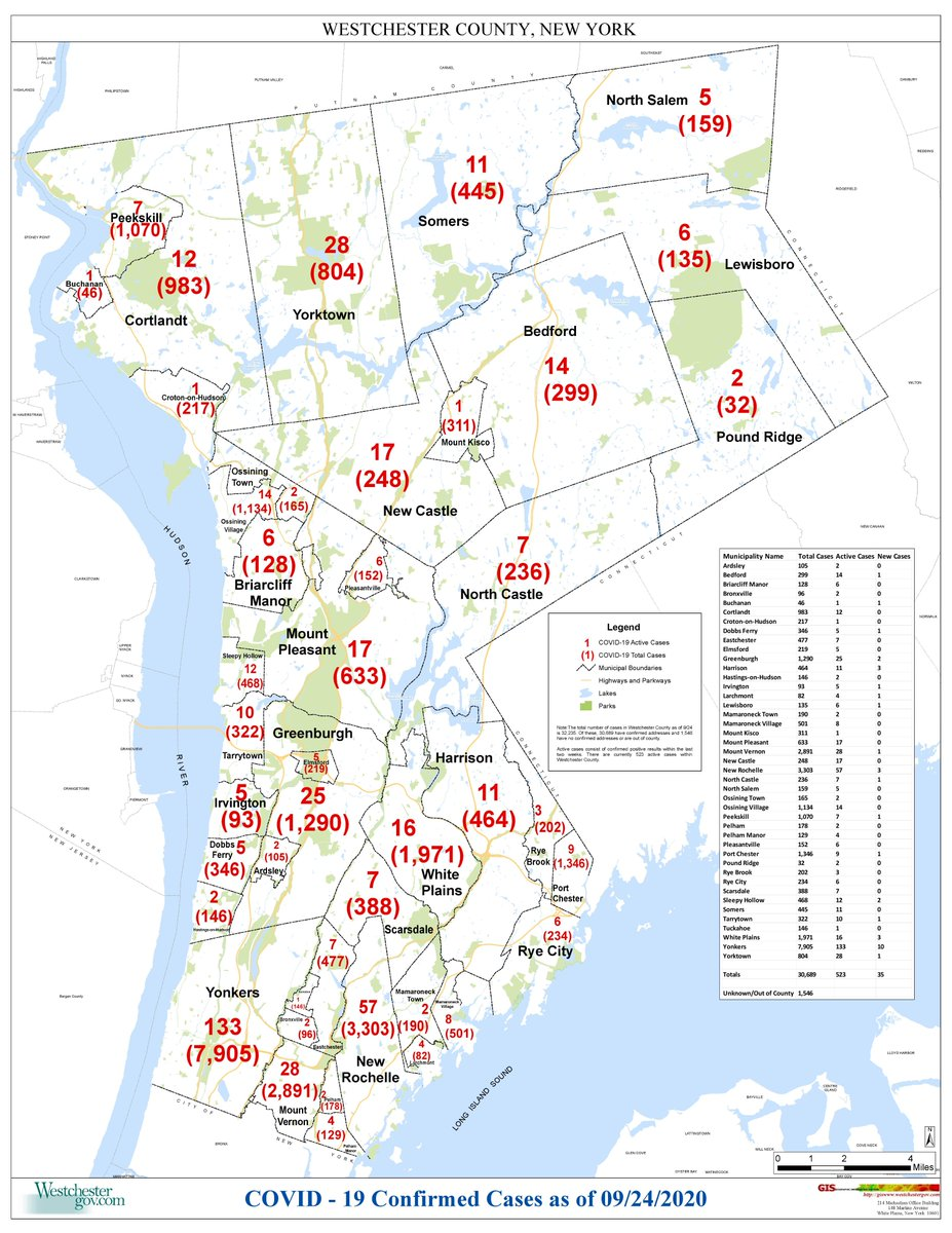 MAP: Active/Total Westchester County Covid-19 Cases as of 9/24