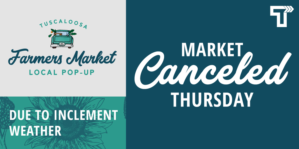 The Pop-Up Farmers Market scheduled for today at the McAbee Center has been canceled due to inclement weather. Stay dry! ☔️