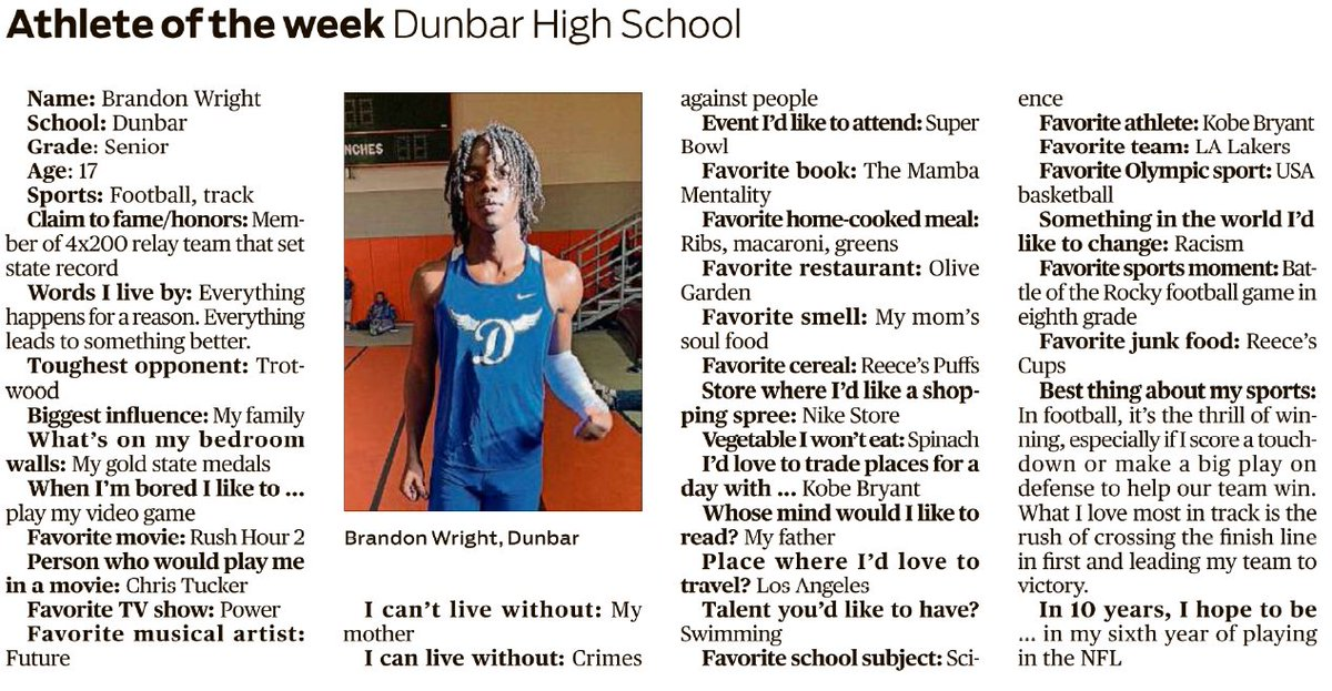 This is Brandon Wright, DDN's (and our) Athlete of the Week. Brandon is a Dunbar senior who plays football and runs track. He's a member of the 4x200 relay team that set the state record! #DPSNation #DPSRises