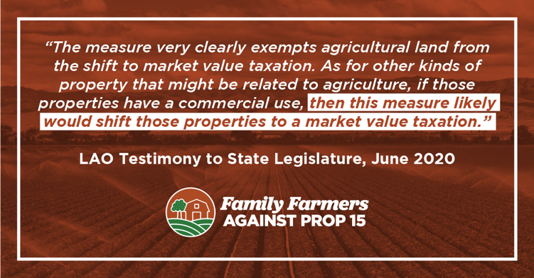 Prop 15 backers are now saying their measure won't impact agriculture. This is categorically false.   Get the facts from the independent, nonpartisan state Legislative Analyst's Office: Prop 15 clearly raises taxes on farms & ranches. #NOonProp15