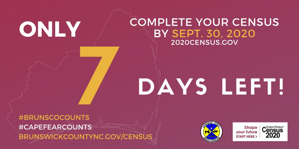 One week left—complete your #2020Census ASAP! ➡️   Census takers are visiting homes to make sure everyone gets counted by Sept. 30, but you can still respond to the #Census online or by phone. Learn more at  #Brunsco #CapeFearCounts