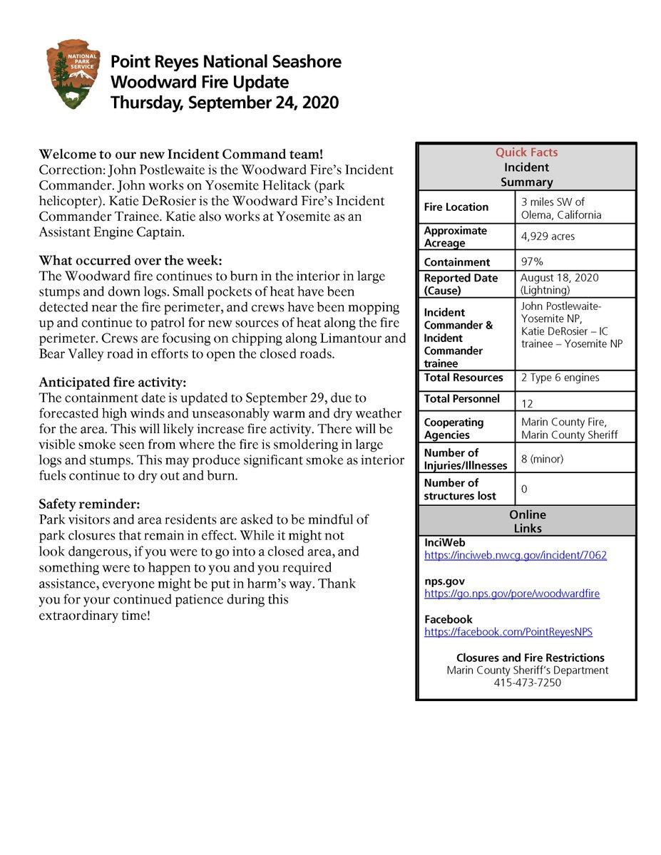 RT @PointReyesNPS: #WoodwardFire Update 09/24/20   More info: